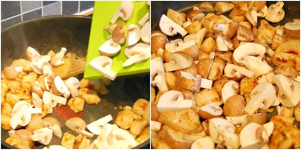 champignons toevoegen