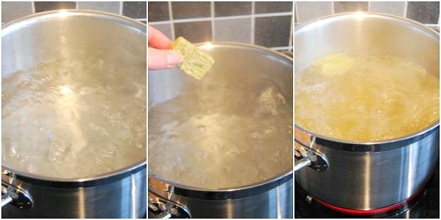 kokend water + bouillon