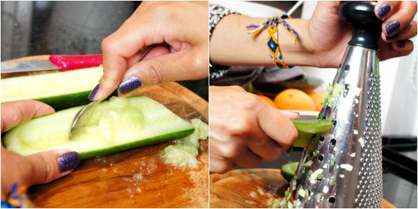 komkommer uithollen en raspen