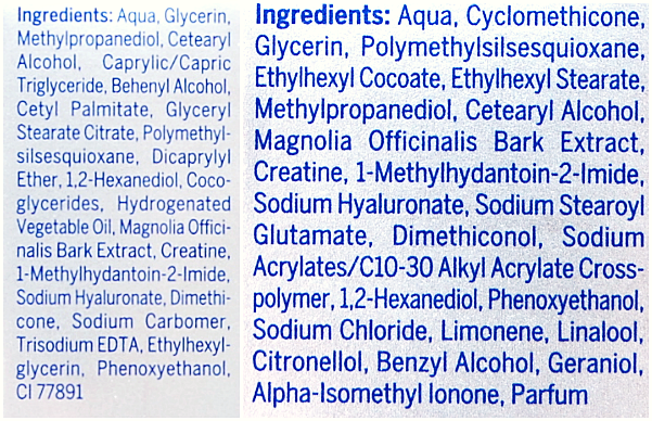 ingrediënten oogcrème en serum