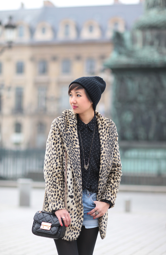leopard-coat-asos-michael-kors-sloan-bag-levis-denim-shorts-paris-place-vendome