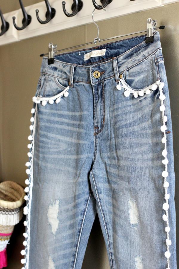 diy easy pom pom jeans-6
