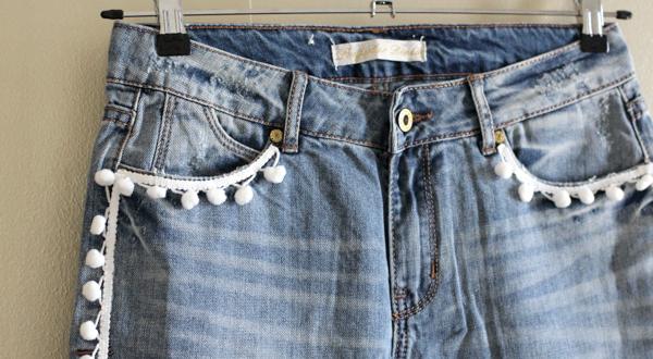 diy easy pom pom jeans