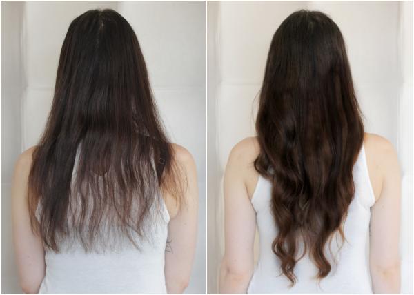 voor en na clip-ins achter