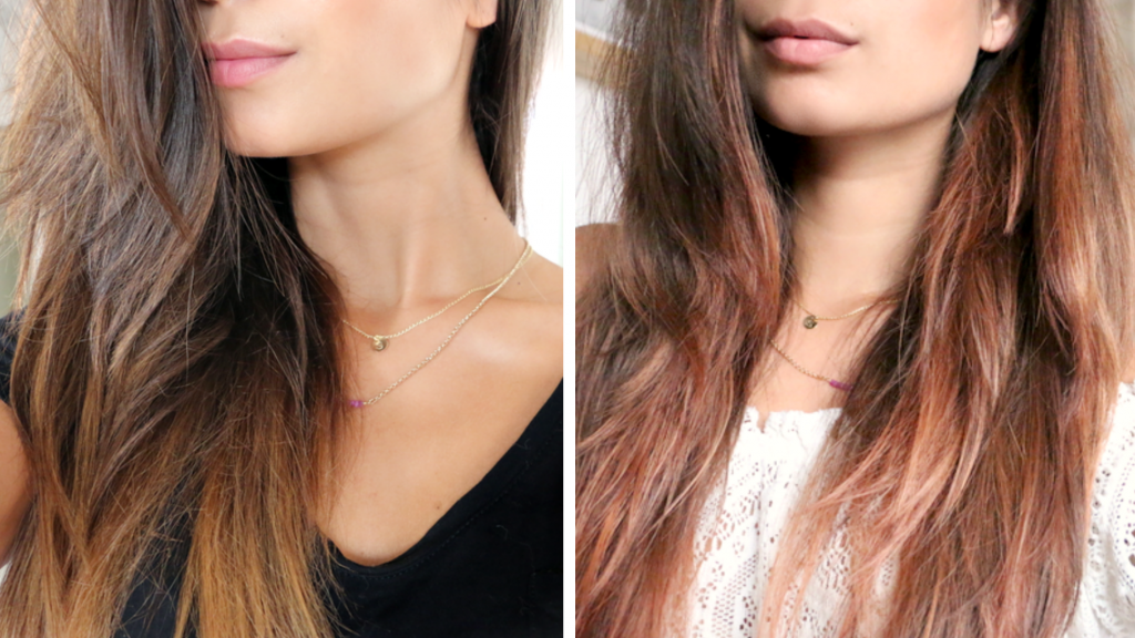 before and after rose gold hair