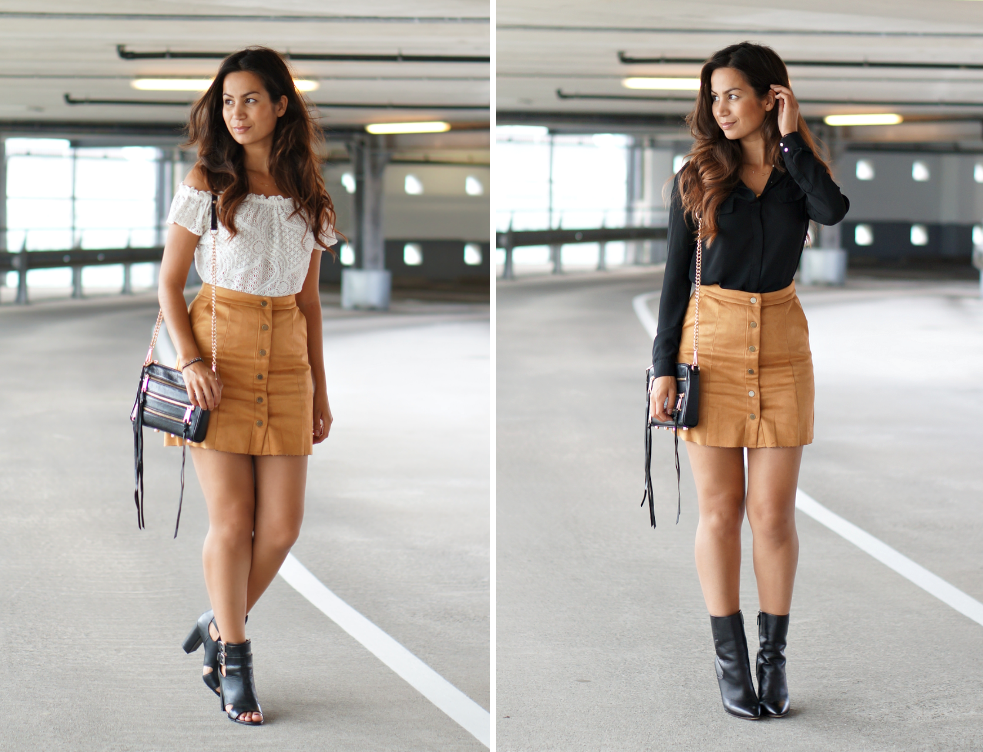button front skirt look
