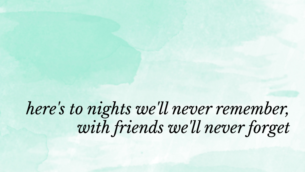 here's to night we'll never remember