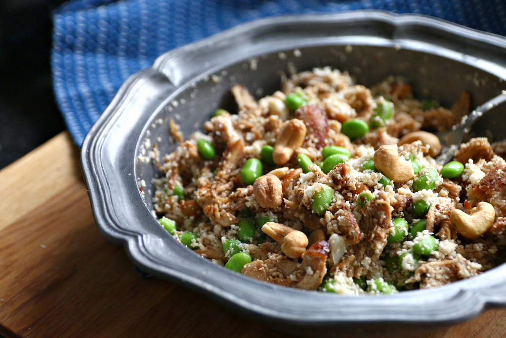 food friday   bloemkool 'rijst' met kip en edamame ⋆ beautylab.nl